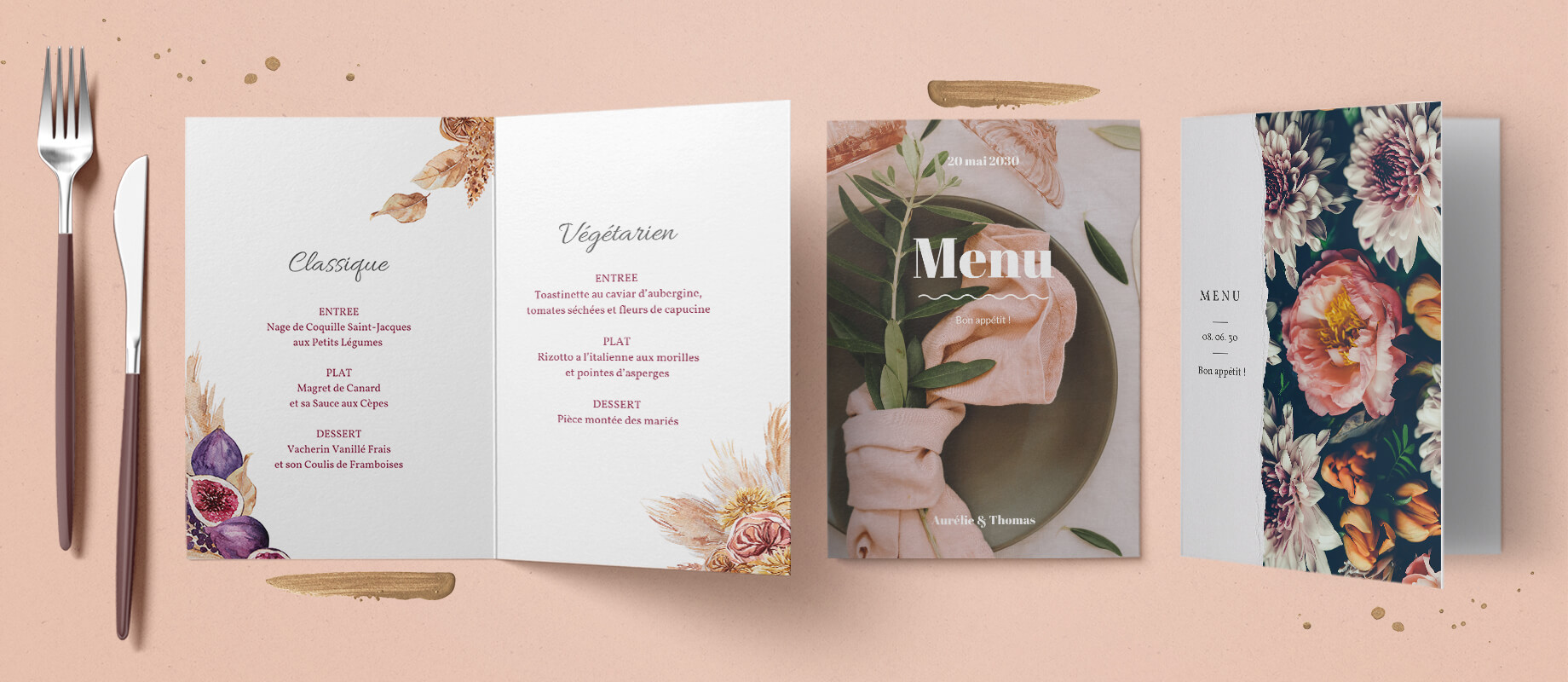 Nos cartes de menu